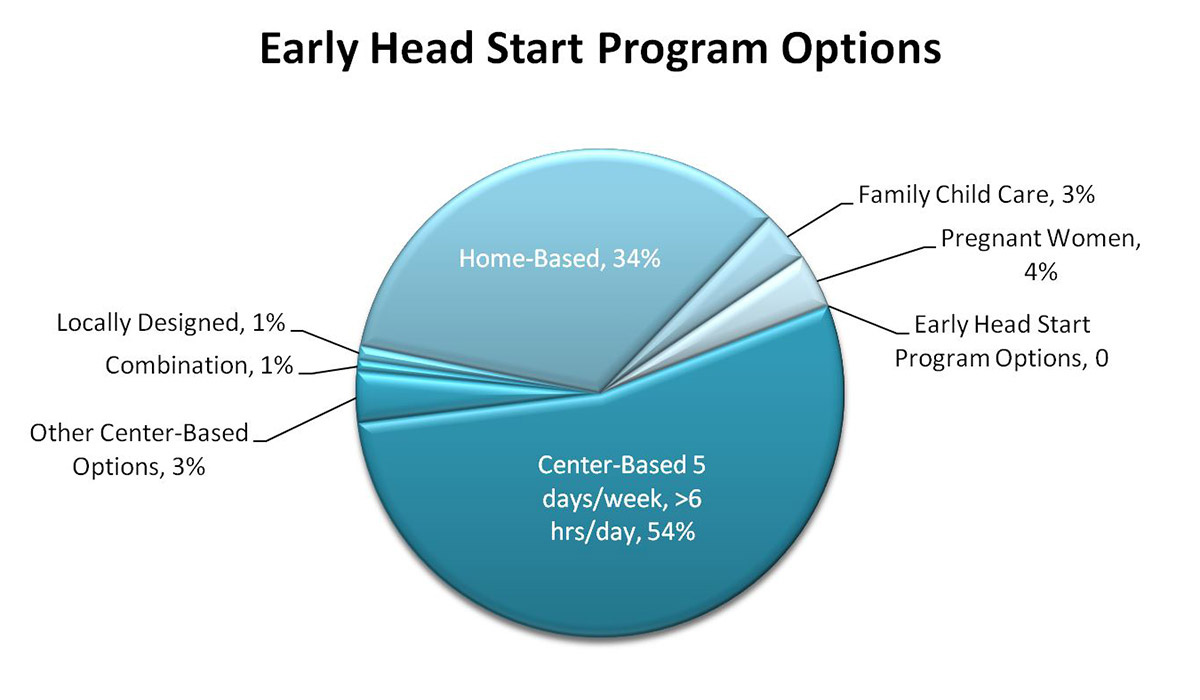 Pie chart displaying percentages enrolled in Early Head Start program options