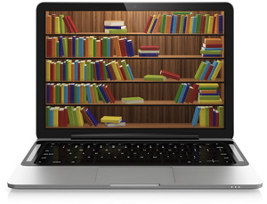 books displayed on a laptop