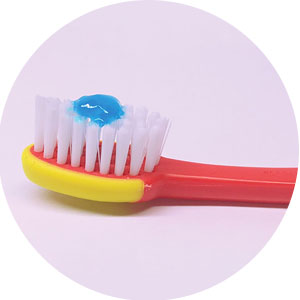 Use a pea-sized amount of toothpaste on a toothbrush for children ages 3 to 6