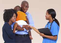 family talking to a nurse