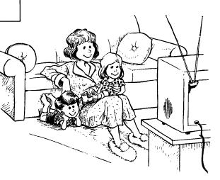 family watching tv