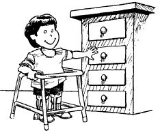 child touching drawer