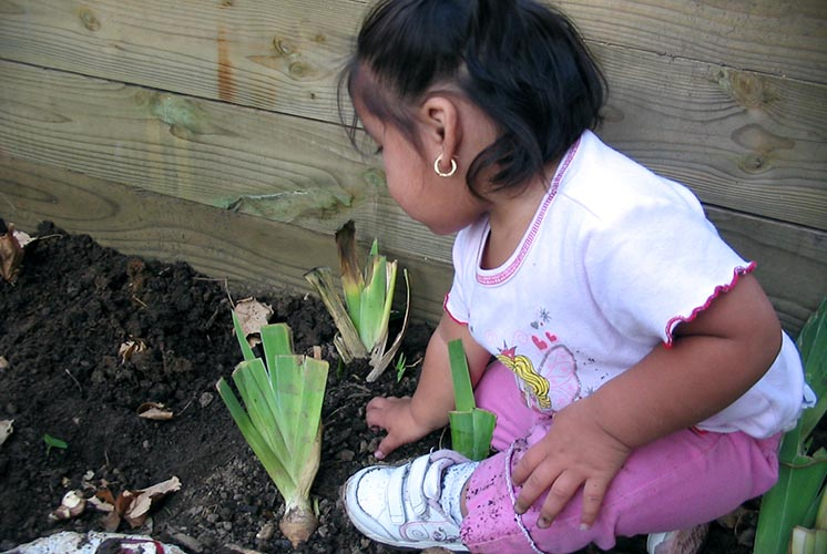 A girl sits in the garden soil among the garden plants