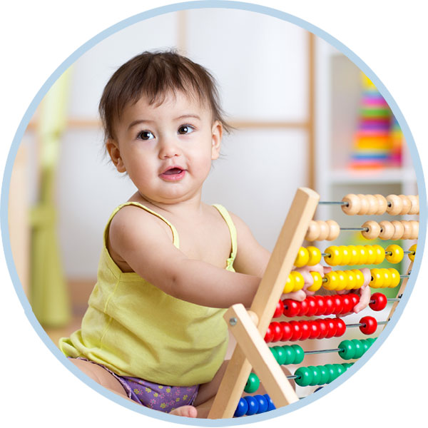 Little girl with an abacus