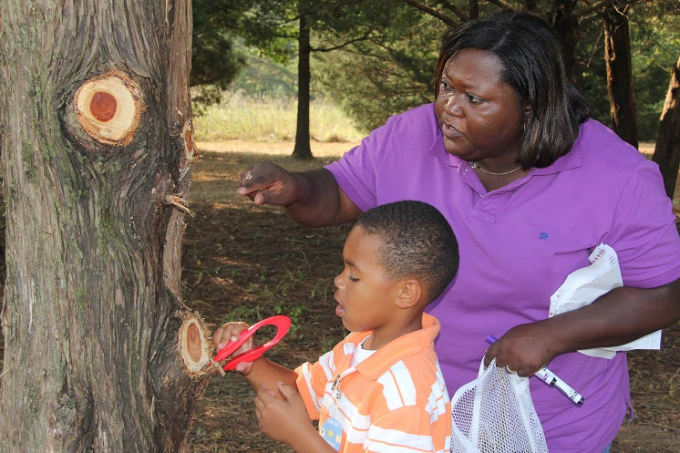 Teacher and child observing a tree