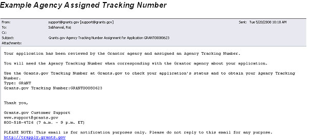 Email Agency Assigned Tracking Number