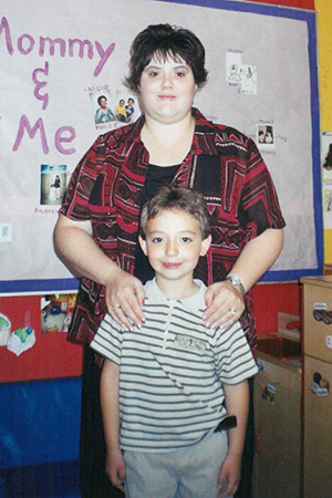 Young Sean Flannagan with mom